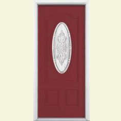 Masonite New Haven Three Quarter Oval Lite Painted Smooth Fiberglass Entry Door with Brickmold-25137 at The Home Depot