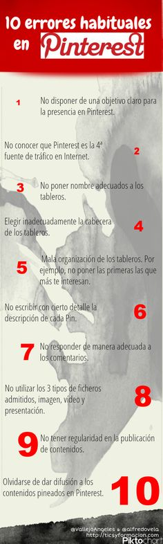 10 #errores habituales en #Pinterest