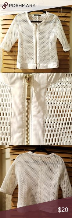 """Insight NY Nordstrom Rack Laser Cut Mesh Coat This is a really incredible Laser cut white mesh style jacket with a gold zipper.  It is a very cool fashion forward runway type item.  It is labled an 8, but please check the measurements to see if it will fit.  It is in great condition with no rips, stains or odors. Original Price at Nordstrom - $129.00  Measurements Shoulder to shoulder cross back: 18.5"""" Bust: 36"""" Bottom of Jacket: 39"""" Length: 21.5""""  hip hop edgy urban white party club night…"""