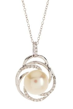 11.5-12mm White Freshwater Pearl & Pave CZ Pendant Necklace by Gilo Creations on @HauteLook