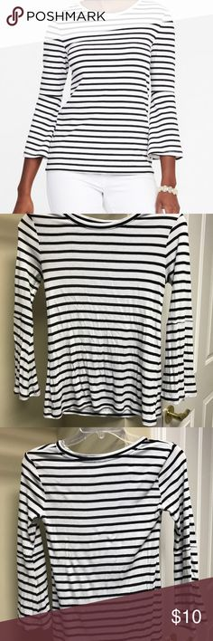 Bell sleeve top Super soft bell sleeve top. Black and white stripe with a ribbed knit texture. Love this top but should have bought a size up. Like new, wore twice, washed and line dried. Old Navy Tops Blouses