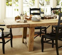 with the black chairs Benchwright Reclaimed Wood Extending Dining Table - Wax Pine finish Dining Table Redo, Reclaimed Wood Dining Table, Black Dining Chairs, Extendable Dining Table, Table And Chairs, A Table, Kitchen Dining, Dining Rooms, Wood Table