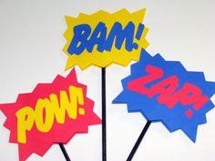Superhero explosion POW BAM ZAP wands sticks signs photo prop set of three