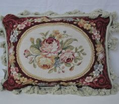 "12"" x 16"" Handmade Wreath Roses Wool Needlepoint Decorative Pillow Cushion Cover 