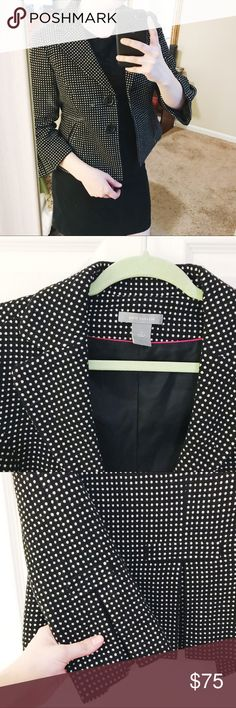 Ann Taylor Polka Dot Blazer Cropped tailored Polka Dot Blazer from Ann Taylor. Beautiful details in the Sleeve and back as pictured. In perfect condition! Basting stitches still remain, keeping side pockets shut. Your preference to remove and keep those! Ann Taylor Jackets & Coats Blazers
