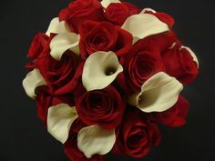 Red roses and white calla lilies with a red and white braided handle. You've heard me espouse the virtues of this combination before so I w. Calla Lily Wedding, Calla Lily Bouquet, Red Bouquet Wedding, Calla Lillies, Red Wedding, Wedding Flowers, Lilies, Bridal Bouquets, Wedding Stuff