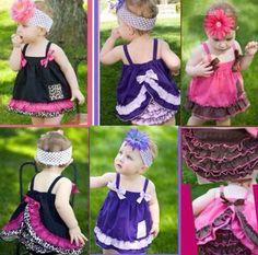 New Fashion Cute Kids Baby Girls Ruffle Tops Pants Set Bloomers Outfit Dress Gofuly