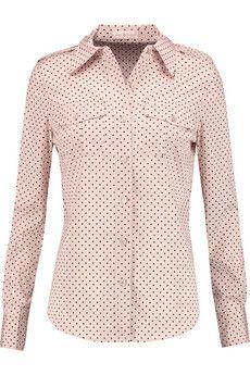 Tory Burch Brigitte polka-dot stretch-silk blouse  | THE OUTNET