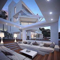Great look of #outdoorliving via @ig_interiors #interiordesign  #homedecor #instadesign #fridaydrinks