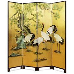 Hand Painted Gold Leaf Floor Screen - Crane and the pine tree, the symbol of peace and longevity in Chinese culture are here exquisitely hand-painted on gold-leafed four-panel of wood. Perfect to display in living room or dining room. Gold bamboo trees are softly painted on the back against black background.