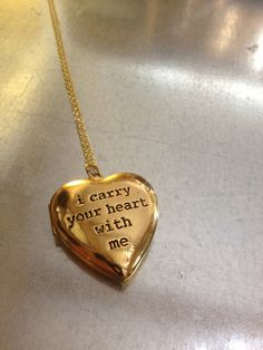 i carry your heart with me Gold Plated Locket Necklace. SO MUCH LOVE