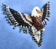 Eagle and Ruby Throated Hummingbird Patterns - Bing Images Seed Bead Patterns, Bird Patterns, Jewelry Patterns, Beading Patterns, Animal Patterns, Beaded Crafts, Beaded Ornaments, Seed Bead Jewelry, Beaded Jewelry