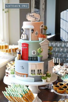 Gateaux, Inc.  Nicely done!  You have to wonder how many hours it to to make all of the pieces of this cake.  It would be great as a wedding cake or a grooms cake too.