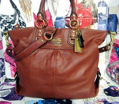 GORGEOUS COACH Julianne Walnut Leather Large Satchel Bag Purse Handbag 12935