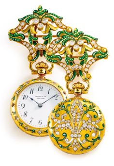 Tiffany & Co./Patek Philippe  RETAILED BY TIFFANY & CO.: A YELLOW GOLD, ENAMEL, AND DIAMOND-SET PENDANT WATCH IN A CONTRACT CASE MVT 84930 CASE 84930 MOVEMENT MADE IN 1889. Estimate5,000—7,000 USD.  LOT SOLD.11,875 USD;  11/06/15.   ||| sotheby's n09368lot82d9wen