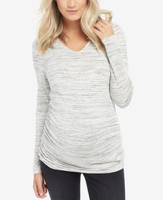 5da54a6a469 Motherhood Maternity Long-Sleeve Ruched Top   Reviews - Maternity - Women -  Macy s