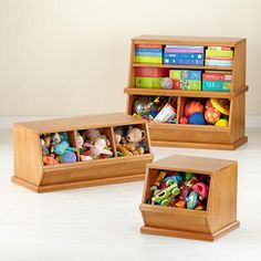 Kidsu0027 Toy Boxes: Kids Wooden Primary Stacking Storage 1, 2 And 3 Bin