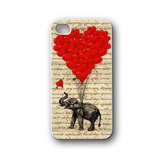 elephant balloons heart  - iPhone 4,4S,5,5S,5C, Case - Samsung Galaxy S3,S4,NOTE,Mini, Cover, Accessories,Gift