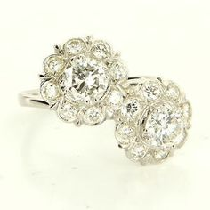 Vintage 14 Karat White Gold Diamond Cocktail Bypass Flower Ring $3495