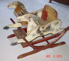Antique Folk Art Painted Wood Child's Rocking Horse