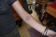 """My four dimensional hypercube tattoo, because the idea that there could be a fourth dimension, and that we can see its shadow is fascinating. Done by Stephanie Brown at Metamorph Tattoo in Chicago."""