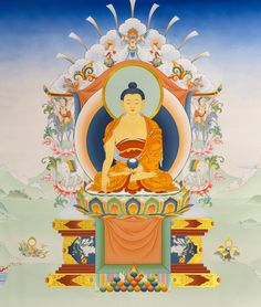 "Tibetan Buddhism | Buddhist Art: Buddha Shakyamuni painted in Karma Gadri style by thangka painting master Dawa Lhadripa ----- Taken from the book ""The Life of Buddha - The Karma Guen Buddhist Center in Spain And Its Precious Wall Paintings"" Available on Amazon.com:  https://www.amazon.com/The-Life-Buddha-Buddhist-Paintings/dp/8461698800/ref=as_sl_pc_ss_til?tag=httpwwwbuddhi-20&linkCode=w01&linkId=TSQ3HKCLPJFEIROH&creativeASIN=8461698800"