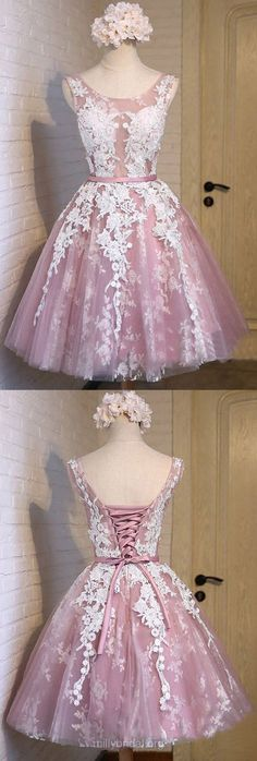 Short Homecoming Dresses, Cheap Homecoming Dress, A-line Scoop Neck Cocktail Dresses,Tulle Appliques Lace Party Gowns,Exclusive Knee-length Prom Dresses