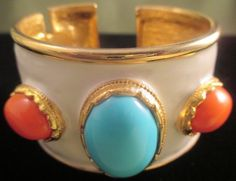 Kenneth Lane (KJL) Enamel Turquoise Coral Bracelet : Lot 404
