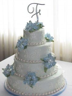 ]Wedding Cake with Pearls and Hydrangeas #wedding #cake
