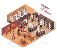 Buy Isometric Bakery Illustration by macrovector on GraphicRiver. Bakery interior isometric vector illustration with professional ovens shelves with bread goods and trading room. Cake Shop Design, Coffee Shop Design, Bakery Design, Cafe Design, Design Design, Bakery Kitchen, Restaurant Kitchen, Restaurant Design, Bakery Store