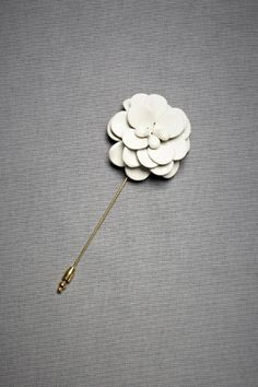 Camellia Hatpin. Enameled brass bloom from Les Preceuises. Handmade in Belgium.