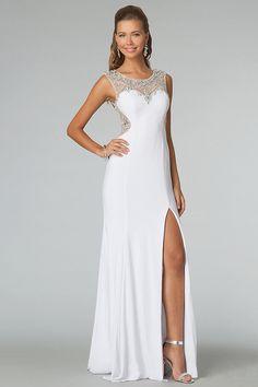 2014 New Arrival Prom Dresses Scoop Neckline Sheath Chiffon White