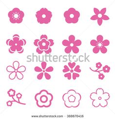 Sakura flowers icon set , cherry blossom icon - stock vector