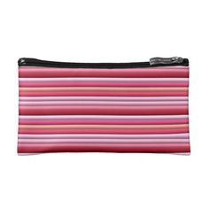 Pink striped pattern makeup bags