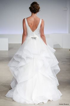 anne barge fall 2017 bridal sleeveless thick strap v neck simple chic princess tiered satin skirt ball gown a  line wedding dress v back sweep train (roxie) bv