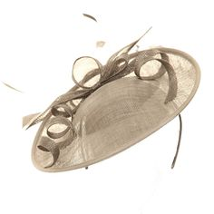 Wedding Fascinator Hat - Silver Bow Disc Sinamay