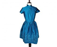 Modern Qipao / Cheongsam - Alicia by Heritsy $119.90 - Beautiful modern blue qipao with intricate embroidery at hemline.