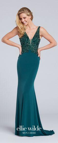 Prom Dresses 2017 - Ellie Wilde for Mon Cheri - Dark Green Sleeveles Prom Dress with Hand-Beaded Bodice - Style No. EW117045
