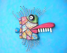 Mardi Gras Mackerel Original Found Object Wall by FigJamStudio
