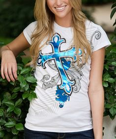 Another great find on #zulily! White Cross Tee - Women by RU Cowgirl #zulilyfinds