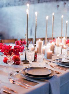 Photo: Jose Villa Photography; Gorgeous red and god wedding centerpiece idea