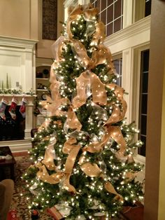 tulle burlap christmas burlap christmas tree rustic christmas christmas tree decorations christmas - Ideas For Decorating Christmas Trees With Burlap