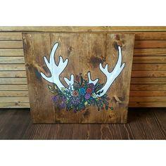 Antlers and flower, wood art, rustic wood art, Country decor, western decor, Antler decor, Antler and flower decor, Antler and flower art, Rustic wood sign,