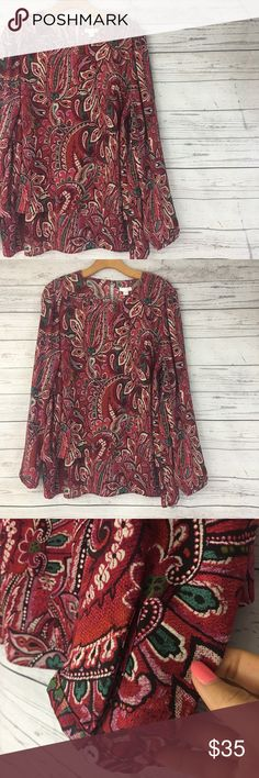 J. Jill Floral Paisley Tunic long sleeve blouse J. Jill tunic blouse with a bright paisley floral print all over. Button closures on the end of the sleeves. It has a flowy layered look to it. EUC J. Jill Tops Tunics