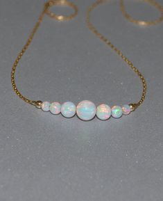 Opal Necklace Tiny Dot Necklace Small Opal Ball Silver