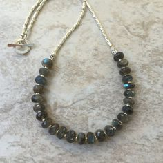 Labradorite Necklace with Sterling Silver, 18 inches long, Faceted Labradorite