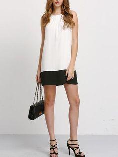 Beige Black Contrast Sleeveless Shift Dress