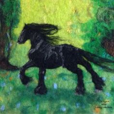 Wet and needle felted painting based off a piece by pastel artist Lesley Harrison. I love her work.