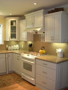 Traditional Kitchen White Cabinets White Appliances Design, Pictures, Remodel, Decor and Ideas