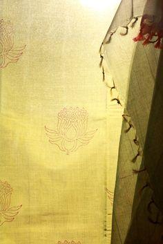 Kanci cotton saree with hand block printed Lotus